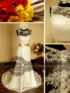 Timeless Beauty Vintage Inspired Lace Wedding Dress by LaceMarry, $294.00