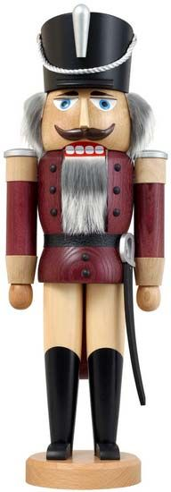 Nutcracker Hussar - Ash -  aubergine - 37 cm / 15 inch $56.00 plus shipping    A classic beauty and one of our bestsellers. Check out http://www.erzgebirgepalace.com/Bestseller:::830.html for more!