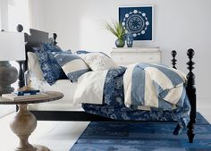 Capture the casual sophistication of coastal style with our Aldon Stripe duvet cover and shams. Made from 100% soft washed linen, its wide cabana-stripe pattern in denim blue and ivory and button clos