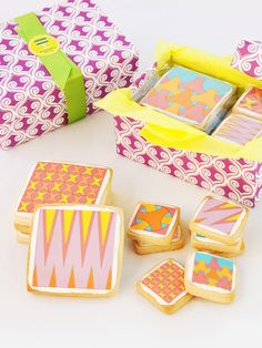 Fashion meets food. Butter shortbread tiles by Modern Bite have patterns designed by architect Greg Roth and are baked to order each time.