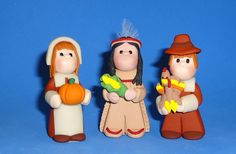 Polymer Clay Pilgrims and Nat. American by Jackie Haskell  of JHMiniatures on Etsy