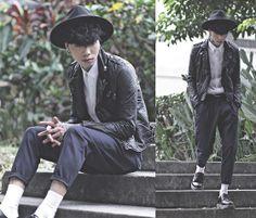 Tastemaker Leather Jacket, Tastemaker Smart Shirt, Tastemaker Navy Pants, Dr. Martens Black Shoes