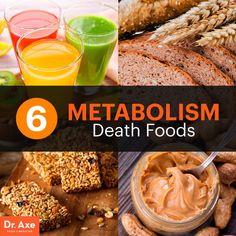 6 Metabolism Death Foods - Dr. Axe - Fruit Juice, Canola Oil, Peanut Butter, Whole Grain, Granola, Art.Sweetners.
