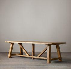 Reclaimed Russian Oak Trestle Dining Tables, Restoration Hardware.