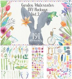 Description: Set of 191 hand drawn watercolor elements: flowers, florals, feathers, antlers, arrows, ribbons, frames etc. Perfect for invitation cards, postcards, prints. Free for download. File format: .png for Photoshop or other software. File size: 110 Mb.