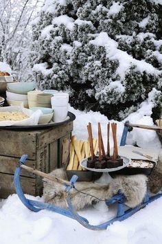 Winter decor and food ideas for having a delicious picnic in the snow! I Love Winter, Winter Fun, Winter Snow, Winter Season, Winter Christmas, Christmas Time, Christmas Sleighs, Picnic Time, Summer Picnic