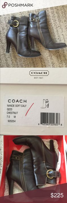 Coach Nancie Soft Calf Coach Nancie Soft Calf. Chestnut. Size 7 Coach Shoes Ankle Boots & Booties