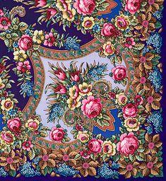 "Russian Legacy   Apparel - Shawls & Scarves - Pavlovo Posad Shawls - Woolen (dense) - ""Summer Memories"" Pavlovo Posad Shawl (violet)"