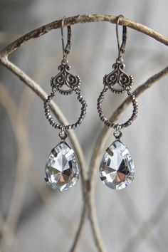 Vintage assemblage earrings tear drops by frenchfeatherdesigns, $54.00