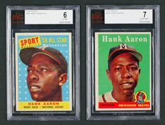 Vintage Cards Up for Auction June 8-22:  1958 Topps #30A Hank Aaron (White Name) BVG 7 (Near Mint) + 1958 Topps #488 Hank Aaron BVG 6 (Ex-Mt)