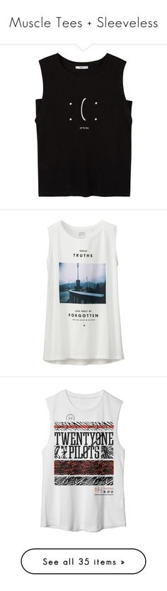 """""""Muscle Tees + Sleeveless"""" by retalleyation ❤ liked on Polyvore featuring tops, t-shirts, blusas, linen tee, round top, pattern t shirt, print tees, mango tops, shirts and tank tops"""