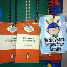 """Super cute and my students LOVE them! I call them """"brain beads"""" and I leave them on centers or """"award"""" them to students who are working hard.  I even has one that says """"Do Not Disturb, Teacher at Work!"""" that I wear during my small group time so other students don't ask me questions while I'm working with a group."""