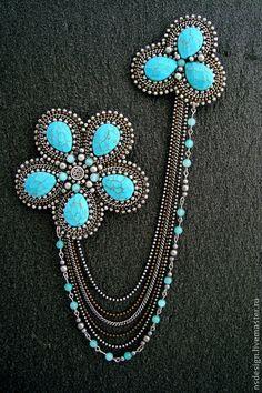 Pandahall provides craft ideas for making handmade jewelries. Beaded Brooch, Beaded Necklace, Beaded Bracelets, Bead Embroidery Jewelry, Beaded Embroidery, Bead Jewellery, Jewelery, Brooches Handmade, Handmade Jewelry