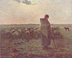 Shepherdess - Jean-Francois Millet, 1864 (Musée d'Orsay, Paris, France), Wikipaintings