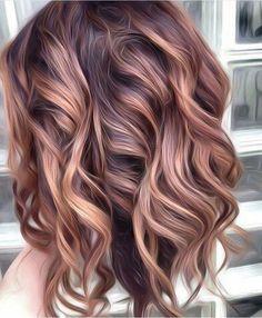 Hair Color Highlights, Hair Color Balayage, Fall Balayage, Caramel Highlights, Subtle Balayage, Caramel Balayage, Rose Gold Balayage Brunettes, Rose Gold Highlights, Brunette Highlights
