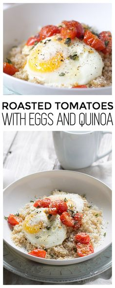 Fluffy quinoa is topped with fresh roasted tomatoes, baked eggs and sprinkled with parmesan cheese. A healthy breakfast that you will fall in love with!
