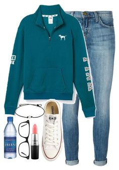 """makin my way downtown walking fast faces pass yeah im home bound"" by elizabethannee ❤ liked on Polyvore featuring Current/Elliott, Victoria's Secret PINK, Converse, MAC Cosmetics, Kensington Road, women's clothing, women's fashion, women, female and woman"