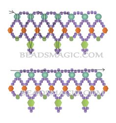 Free pattern for beaded necklace Amity | Beads Magic - 2--- U need Seed Beads 6/0 + 11/0, Pearl Beads 4 mm, Bicone Beads 4 mm + 6 mm.