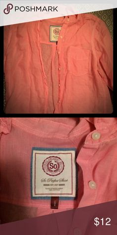 SO brand pink button down blouse SO brand pink button down blouse, very light weight almost shear.  100% cotton.  Size large SO Tops Button Down Shirts