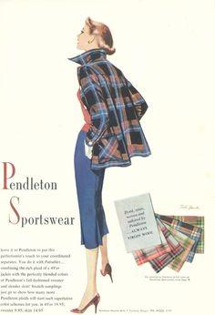Stylish Pendleton Sportswear from 1952 Pendleton Shirts, Pendleton Jacket, Pendleton Clothing, Pendleton Wool, Fifties Fashion, Retro Fashion, Vintage Fashion, Vintage Style, Vintage Beauty