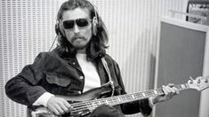 George Harrison and Fender Bass. Sessions for Abbey Road LP, summer 1969.