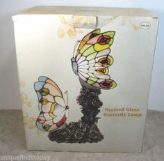 New Stained Glass Butterfly Table Lamp Rose Pedestal Base NIB