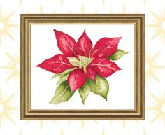 Poinsettia Flower Instant Download Cross Stitch Pattern | Etsy Xmas Cross Stitch, Cross Stitch Patterns, Poinsettia Flower, Dmc Floss, Christmas Decorations, How Are You Feeling, Holiday, Flowers, Prints