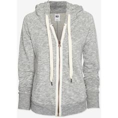 NSF Deconstructed Hoodie: Grey ($139) ❤ liked on Polyvore featuring tops, hoodies, jackets, outerwear, sweaters, hooded top, gray hoodie, cotton zip up hoodie, grey hoodie and grey zip up hoodie