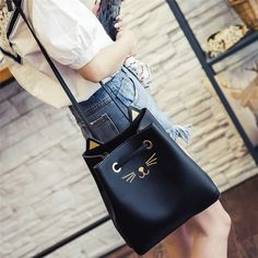 Women Girls Cat Pattern Shoulder Bag Drawstring Travel Large Bag Animal Prints Pu Leather Satchels Ladies School Messenger Bags