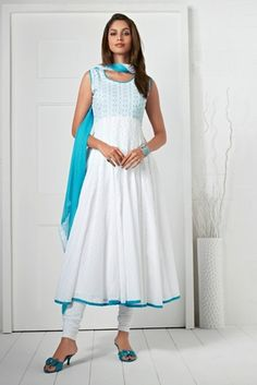 White & Sky Blue Color Cotton Jacquard Material Casual Wear Salwar Suits