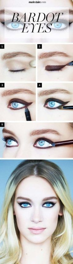 Sexy Eye Makeup Tutorials - Brigitte Bardot Eye Makeup - Easy Guides on How To Do Smokey Looks and Look like one of the Linda Hallberg Bombshells - Sexy Looks for Brown, Blue, Hazel and Green Eyes - Dramatic Looks For Blondes and Brunettes - thegoddess.com/sexy-eye-makeup-tutorials