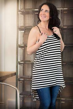 Image of Black and White Striped Hi-Lo Tunic