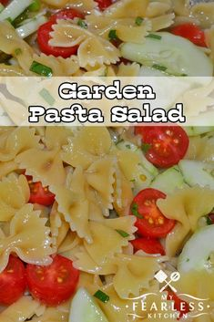 Garden Pasta Salad from My Fearless Kitchen. Whether you have fresh vegetables in your garden or you get veggies from a farmer's market or grocery store, this Garden Pasta Salad is perfect for summer! #pastasalad #vegetables #easyrecipes