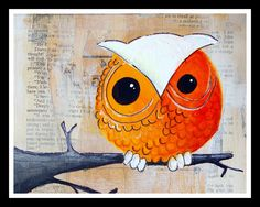 Owl print- One little orange and white owl-  Big Print in 5x7 inches - owl, feather, lion, tree, moon, mushroom, peacock.... you pick. $8.00, via Etsy.