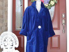 Vintage Royal Blue Velvet Swing Coat by DATChameleon on Etsy Victorian Coat, Swing Coats, Blue Velvet, Royal Blue, Raincoat, Blue And White, Glamour, Shirt Dress, Retro