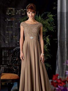 Elegant Tank Top Floor Length Chiffon A Line Mother Of The Bride Dress | Trubridal.com