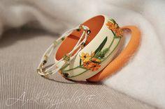 Ornithogalum Bangle set - 3pcs -  Polymer clay floral  bracelets - Orange flowers - Multi strand beaded bracelet
