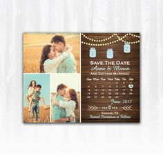 Mason Jar Save The Date Magnet or Card DIY PRINTABLE Digital File or Print (extra) String Lights Save The Date, Wood Save The Date, Save The Date with 3 Photos, Save The Date Multiple Photos, Country Save The Date, Rustic Save The Date