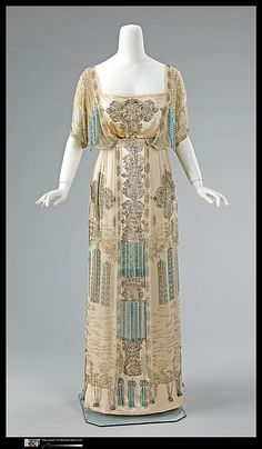Evening dress Date: 1909–11 Culture: French Medium: silk, rhinestones Dimensions: Length at CB (a): 14 1/2 in. (36.8 cm) Length at CB (b): 4...