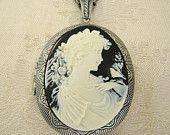 White Black Beautiful Woman Large Cameo by BackstreetCreations Cameo Necklace, Locket Necklace, Fashion Necklace, Fashion Jewelry, Never Grow Old, Mother Of The Bride, Antique Silver, Wedding Jewelry, Beautiful Women