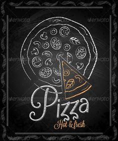 Chalkboard Canvas, Chalkboard Clipart, Chalkboard Ideas, Pizza Branding, Pizza Logo, Speisenkarten Designs, Pizza Box Design, Pizza Poster, Pizza Vector