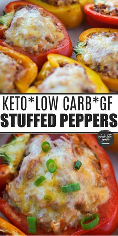 Baked keto stuffed peppers with cauliflower and no rice is a healthy dinner recipe. The healthy stuffed bell peppers are with ground beef (or swap turkey), and sausage and topped with cheese.