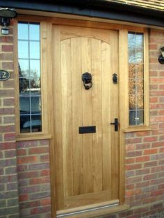 oak swept head door with windows