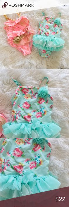 Flapdoodles and Little Me Bathing suit Bundle In great condition , like new get two super girlie swimsuits for your little babe for the summer! Both purchased from Lord & Taylor.   The Flapdoodle is a pink with gold pineapple print tankiki with lots of ruffles!   The Little Me is a teal floral print one piece with a must needed tutu detail at the waist. Little Me Swim One Piece