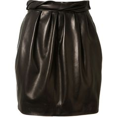 Carmen March Black Leather Pleated Skirt ($1,290) ❤ liked on Polyvore featuring skirts, bottoms, leather skirt, real leather skirt, carmen march, pleated skirt and twist skirt