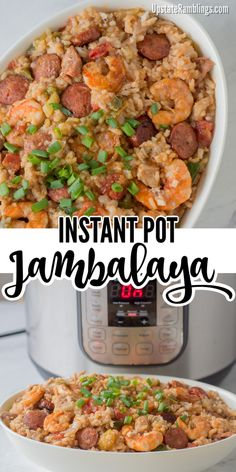 This Instant Pot Jambalaya recipe is a Cajun inspired one dish recipe with shrimp, andouille sausage, chicken and rice that will make a spicy dinner. Using a pressure cooker makes it a quick and easy weeknight dinner! Using A Pressure Cooker, Instant Pot Pressure Cooker, Pressure Cooker Recipes, Jambalaya Recipe Instant Pot, Instant Pot Dinner Recipes, Instant Recipes, Sausage Recipes, Chicken Recipes, Cooking Recipes