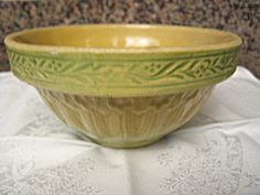 Rare antique yellow ware bowl  for sale at More Than McCoy on TIAS!
