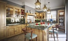 Adorable Traditional Kitchen Decorating Ideas: Warm Wood And Grey Luxurious Traditional Kitchen Ideas Clasic Pendant Lamp