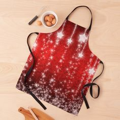 Christmas Themes, Christmas Gifts, Falling Stars, Apron Designs, Black Ties, Red Background, Long Black, Twinkle Twinkle, Print Design