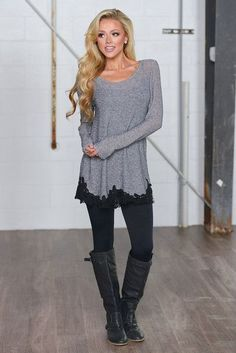 Date Night Tunic - Charcoal thechicfind.com